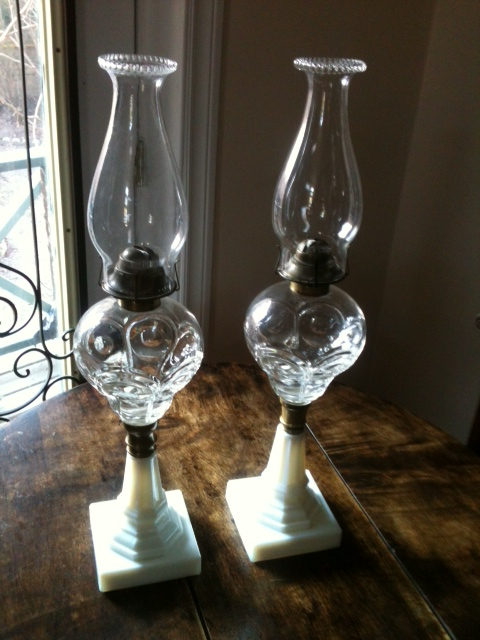 Pair of poured glass and milk glass oil lamps